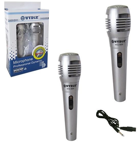 Kit Microfone Dinâmico 2 Unidades Prata com Fio