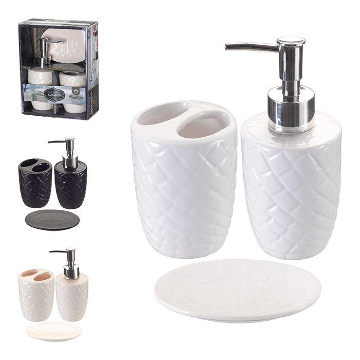 Kit para Banheiro Porcelana 3 Peças Porta Sabonete Escova