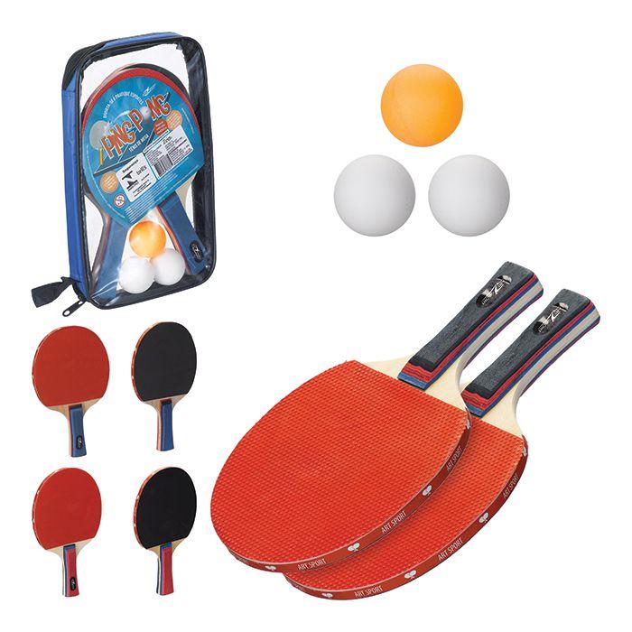 Kit Ping Pong com 2 Raquetes e 3 Bolinhas