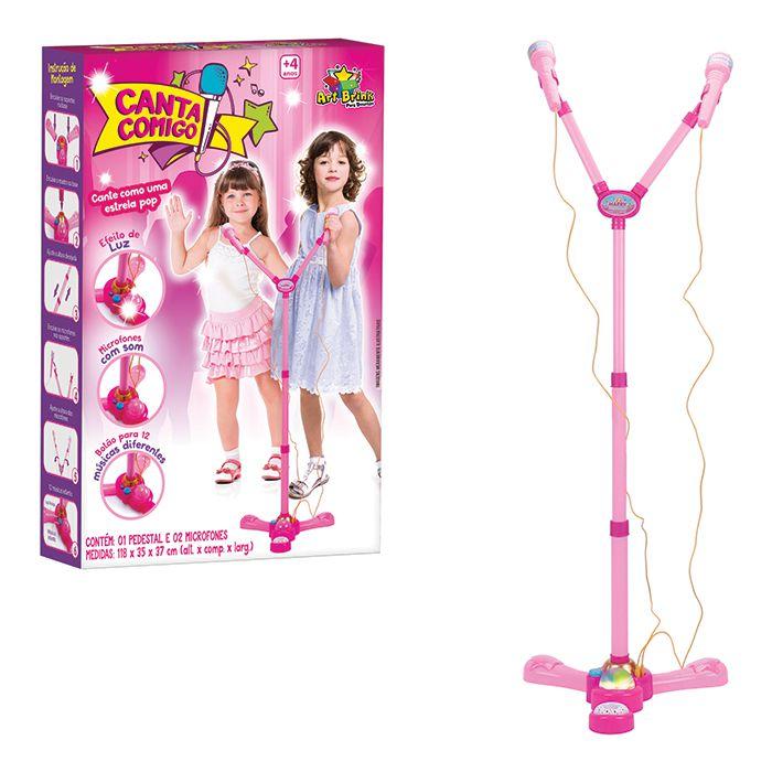 Microfone Duplo Infantil com Pedestal Canta Comigo