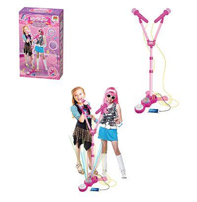 Microfone Duplo Infantil com Pedestal Rocky Girl