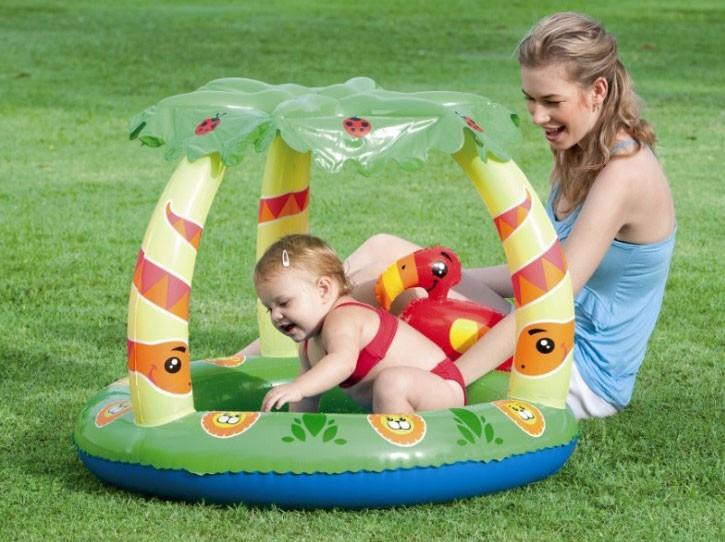 Piscina Infantil Bebê Criança Selva com Cobertura Protege do Sol