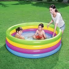 Piscina Infantil Inflável 4 Anéis Coloridos 522 Litros Play Pool