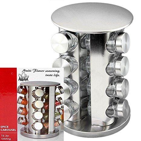 Porta Condimentos e Temperos Inox 16 Potes Série Luxo