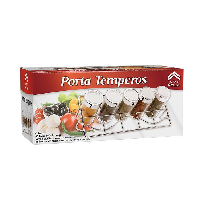 Porta Temperos Condimentos 5 Potes de Vidro