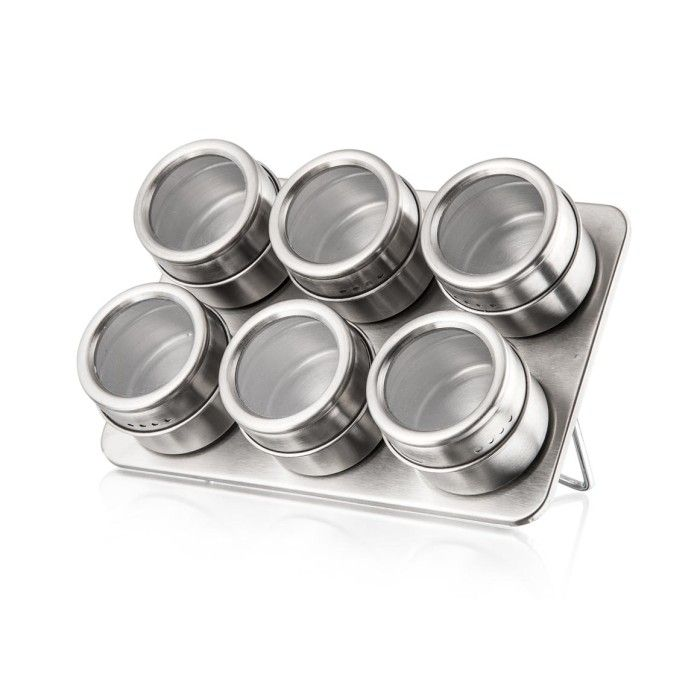 Porta Temperos Condimentos com 6 Potes com Fundo Magnético