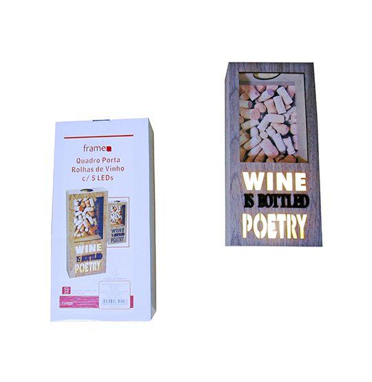 Quadro Porta Rolhas de Vinho com Led 32x15cm