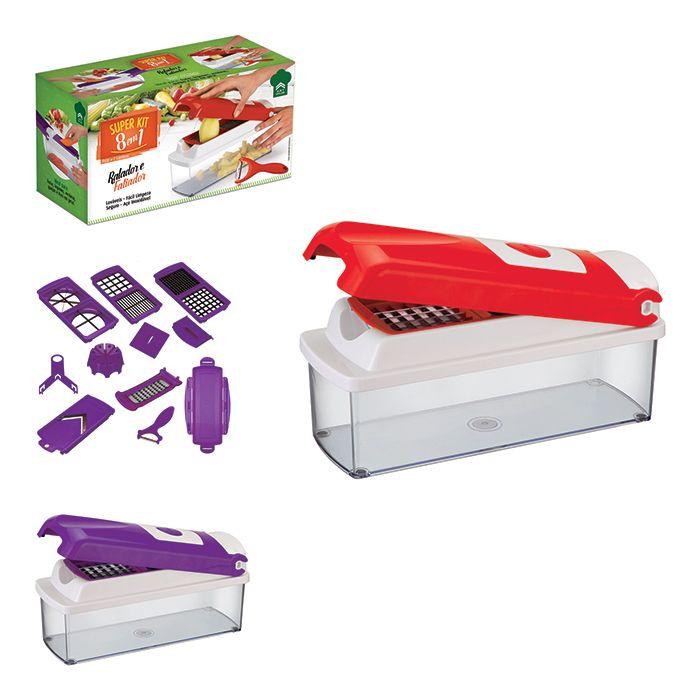 Ralador e Fatiador de Legumes Super Kit 8 em 1