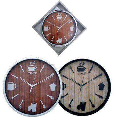 Relógio de Parede Redondo 30cm Café