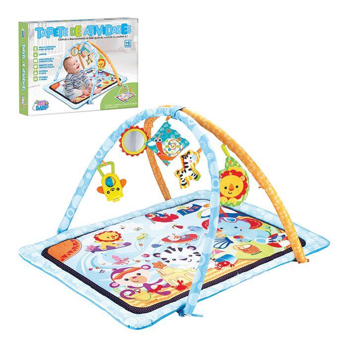 Tapete de Atividades Azul para Bebês com Arco e Móbiles