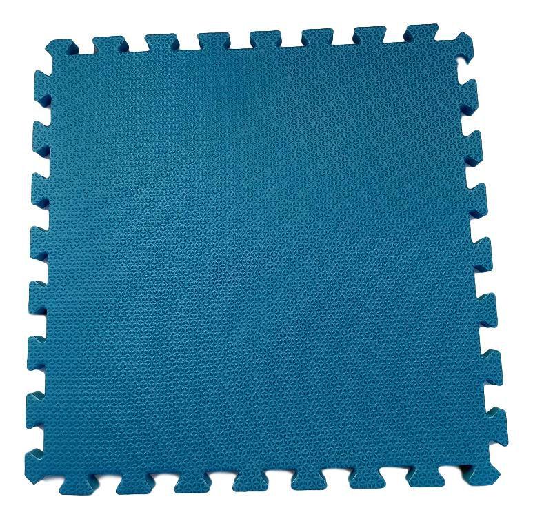 Tatame Tapete EVA Com Borda 50 X 50 X 2cm Azul Dinamarca