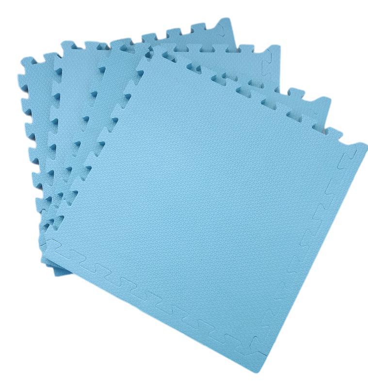 Tatame Tapete EVA Com Borda 50 X 50 X 3cm Azul Alasca