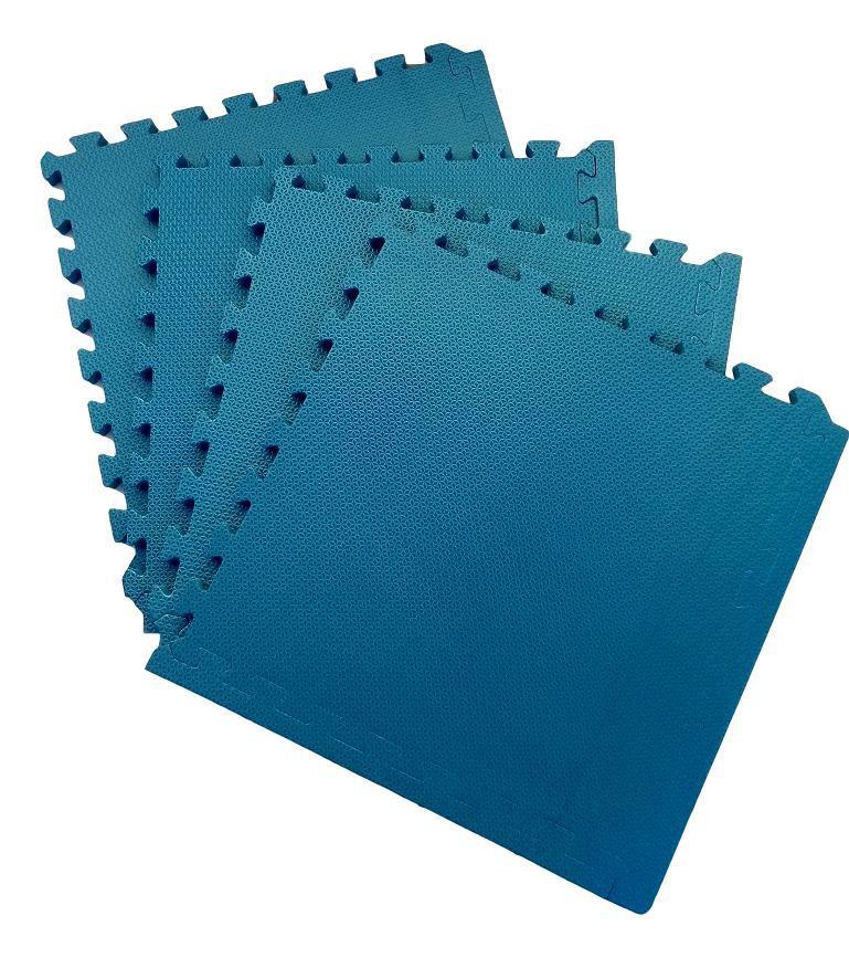 Tatame Tapete EVA Com Borda 50 X 50 X 3cm Azul Dinamarca