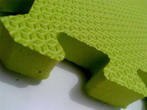Tatame Tapete EVA Com Borda 50 X 50 X 3cm Verde Limão