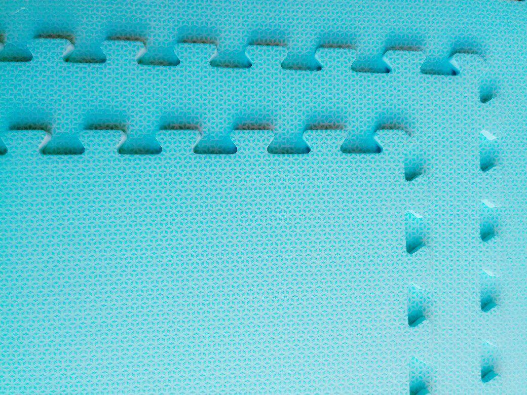 Tatame Tapete EVA Com Borda 50cm X 50cm X 1cm Azul Alasca