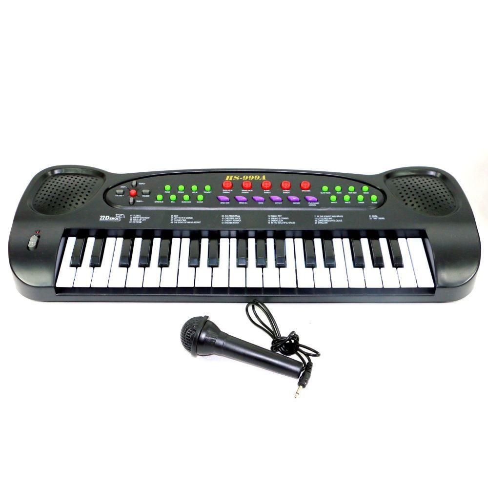 Teclado Piano Musical Infantil com Ritmos e Microfone