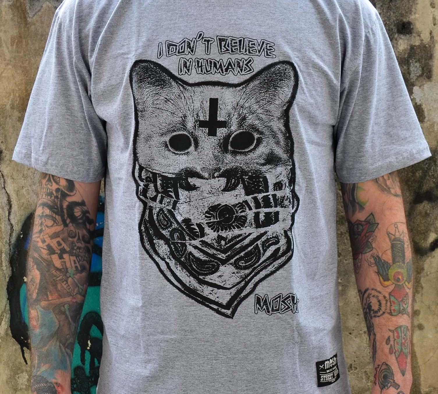 Camiseta Gato Bandana Cinza