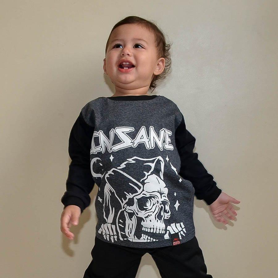 Camiseta Manga Longa Morte Infantil