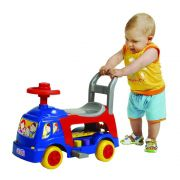 andador infantil 4 em 1 educativo com haste azul magic toys
