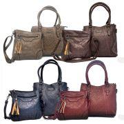 kit 2 bolsas femininas de couro sintético resistente
