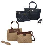 kit 2 bolsas femininas importadas de couro sintético