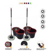 Kit Com 2 Baldes Spin Mop Com Centrifuga Inox 2 Escovao + 4 Refis