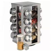 porta temperos inox com 16 potes em vidro e base giratória