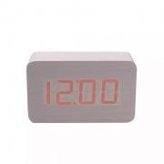 relógio digital em madeira com temperatura e alarme - Branco