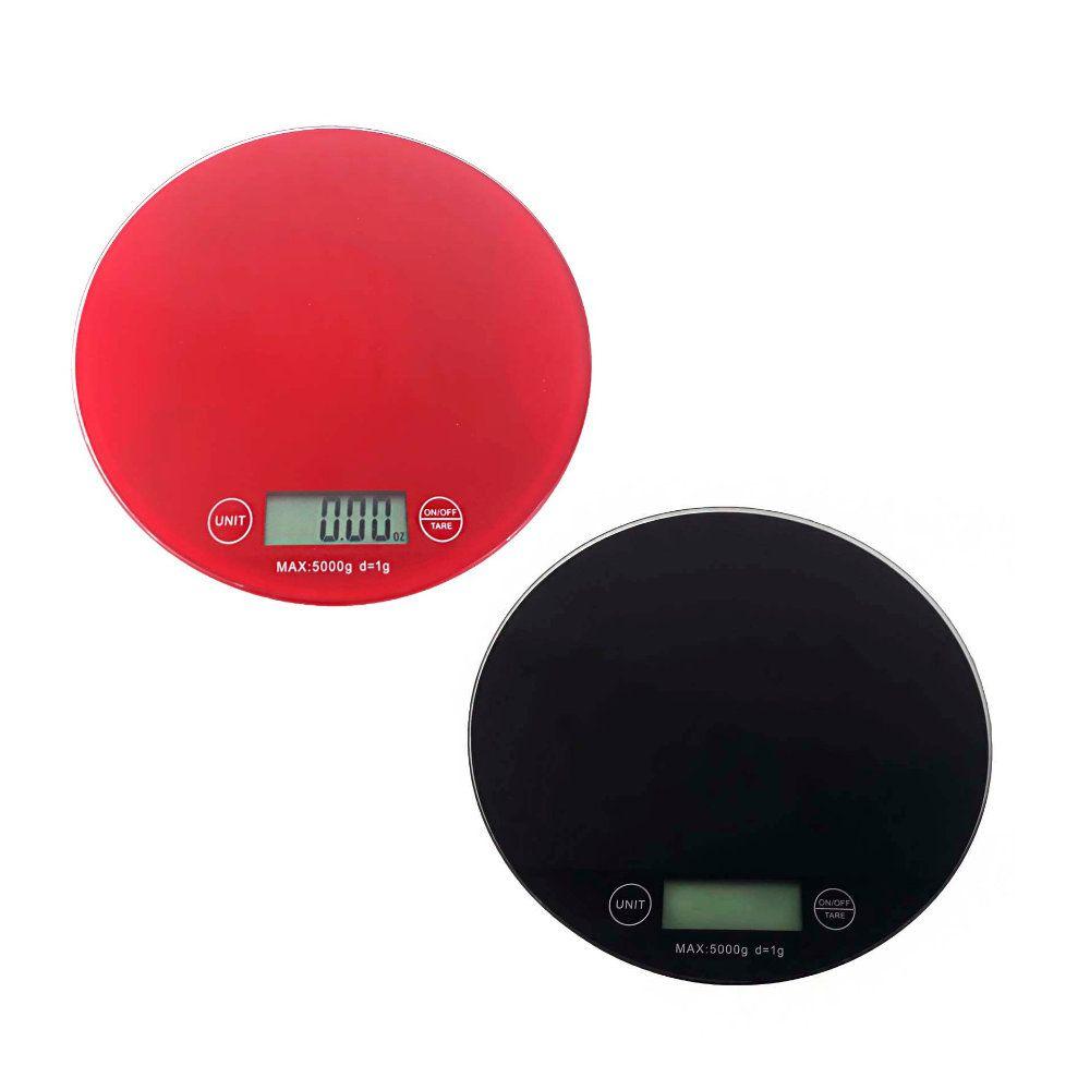Balança De Cozinha 5kg Redonda Digital Em Vidro Temperado