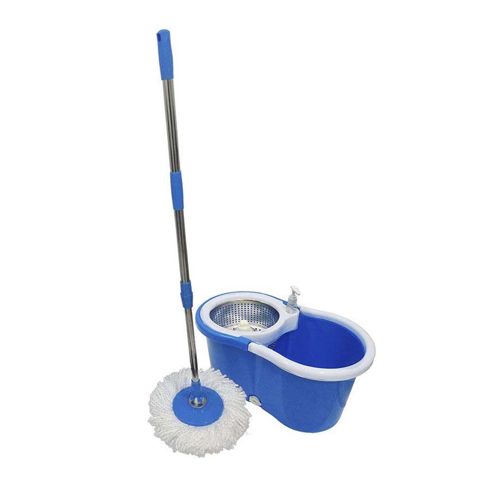 Balde mop cesto inox cabo 1,65m com refis limpeza pesada