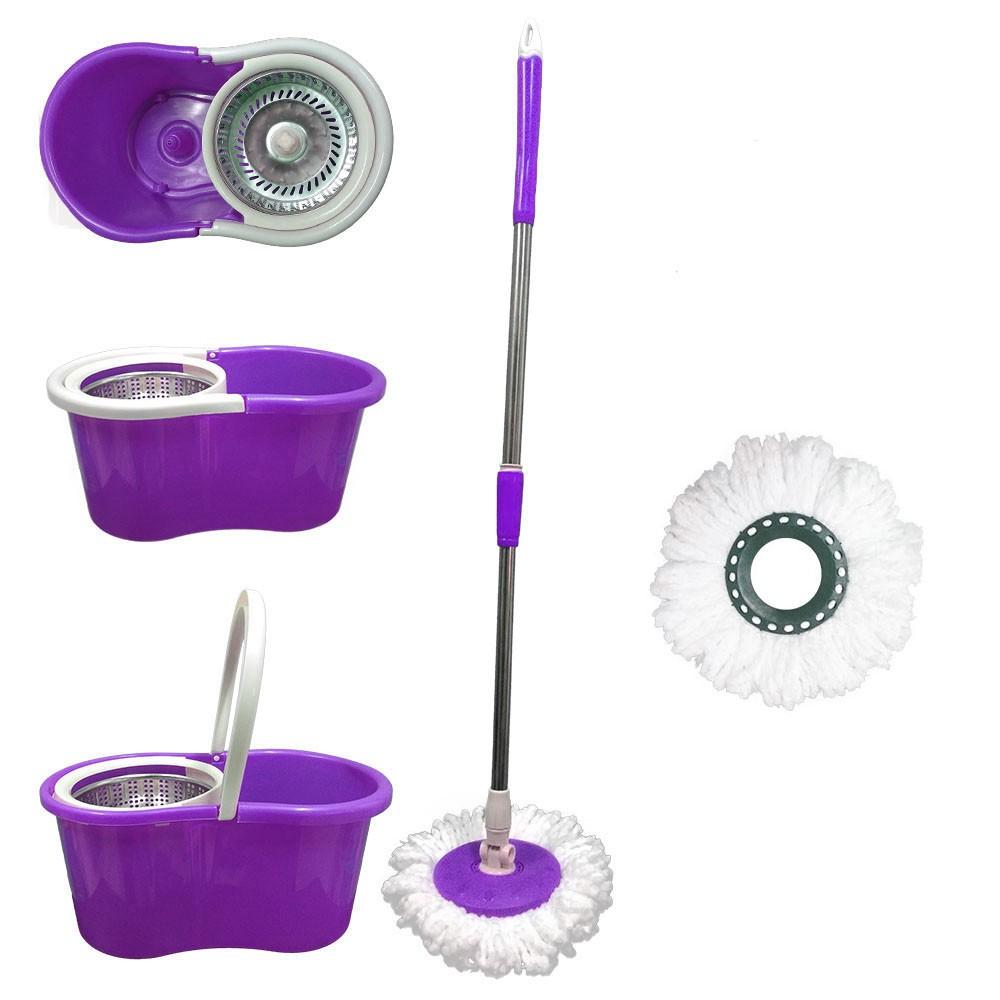 balde mop com centrifuga inox e esfregão com 2 refis - roxo