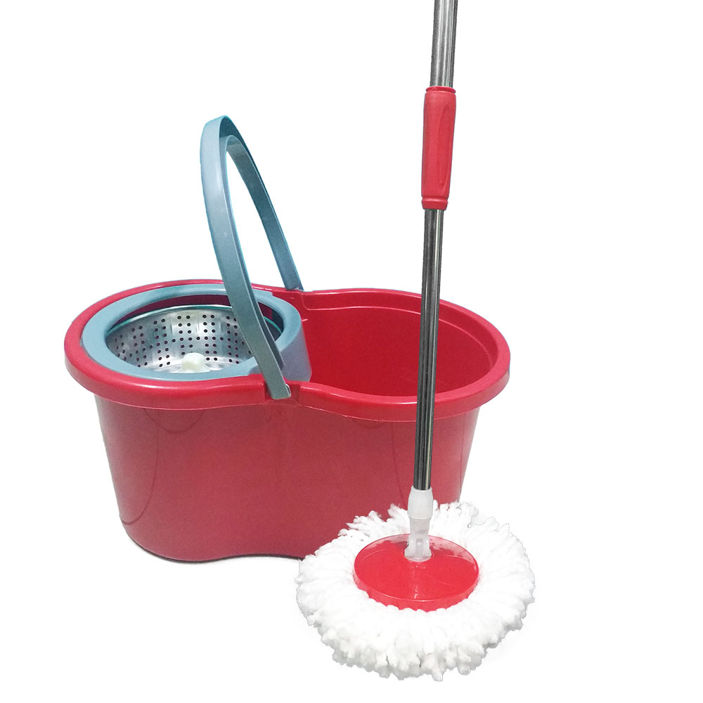balde mop centrifuga inox e esfregão com 2 refis - vermelho