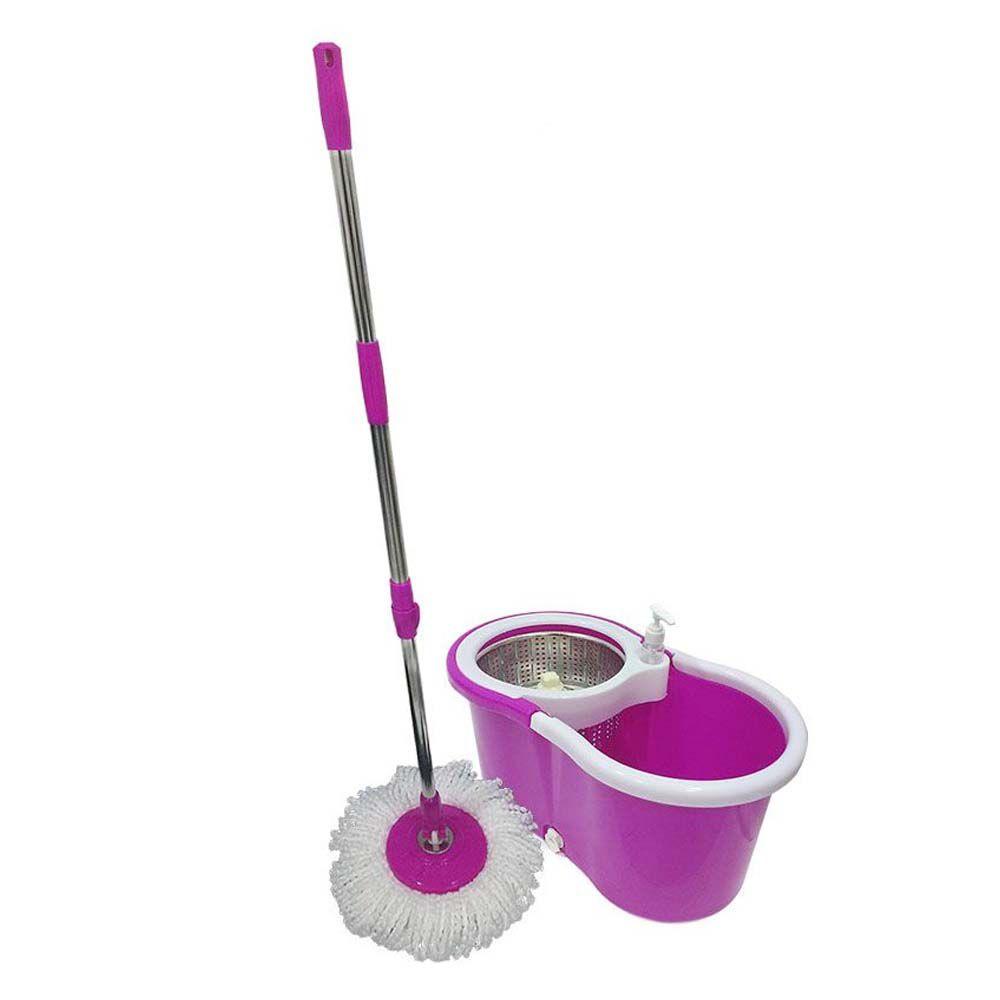 balde mop esfregão 1,30 m cesto inox 6 refis limpeza pesada
