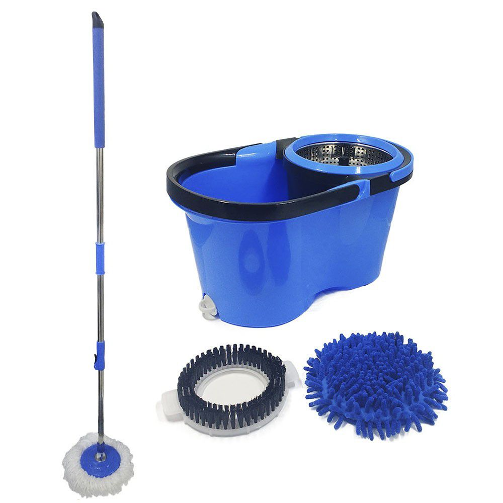 balde mop pro 360 com dreno centrifuga inox com 3 refis