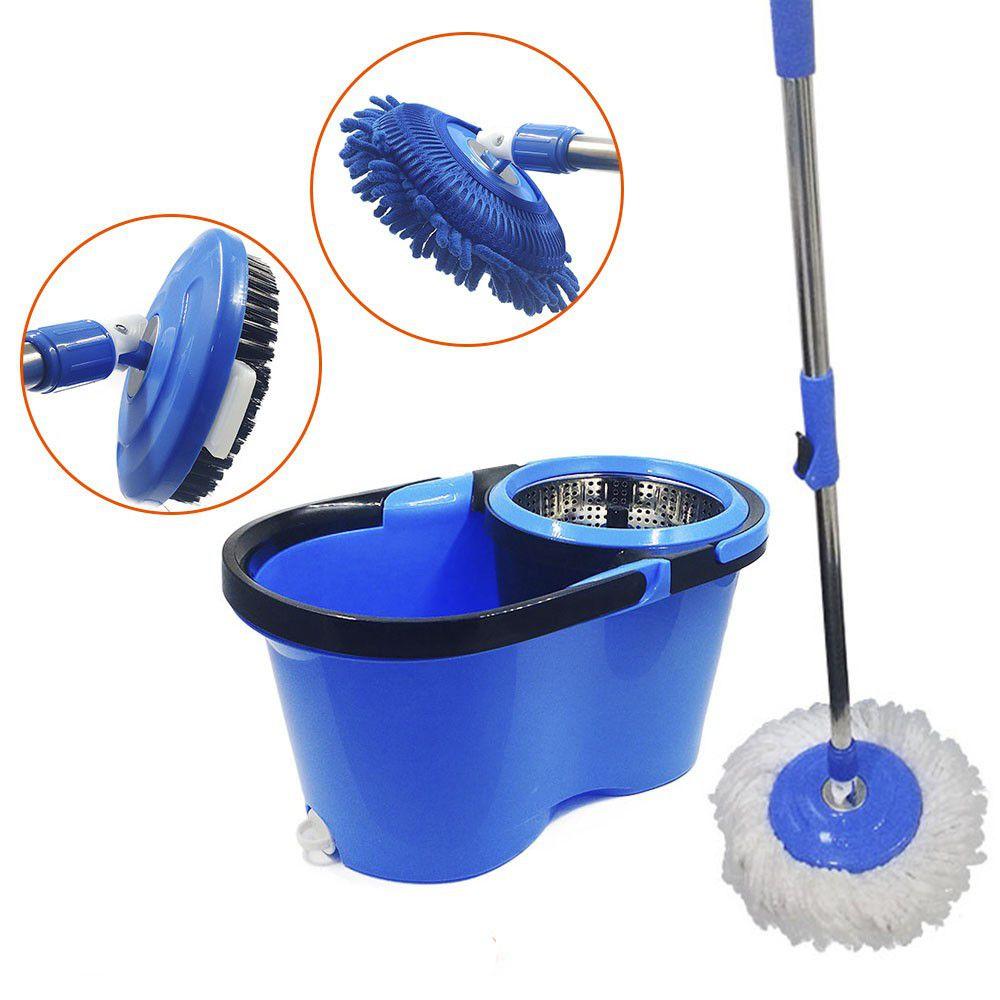 balde mop pro com dreno centrifuga inox cabo 1,60m + 5 Refis