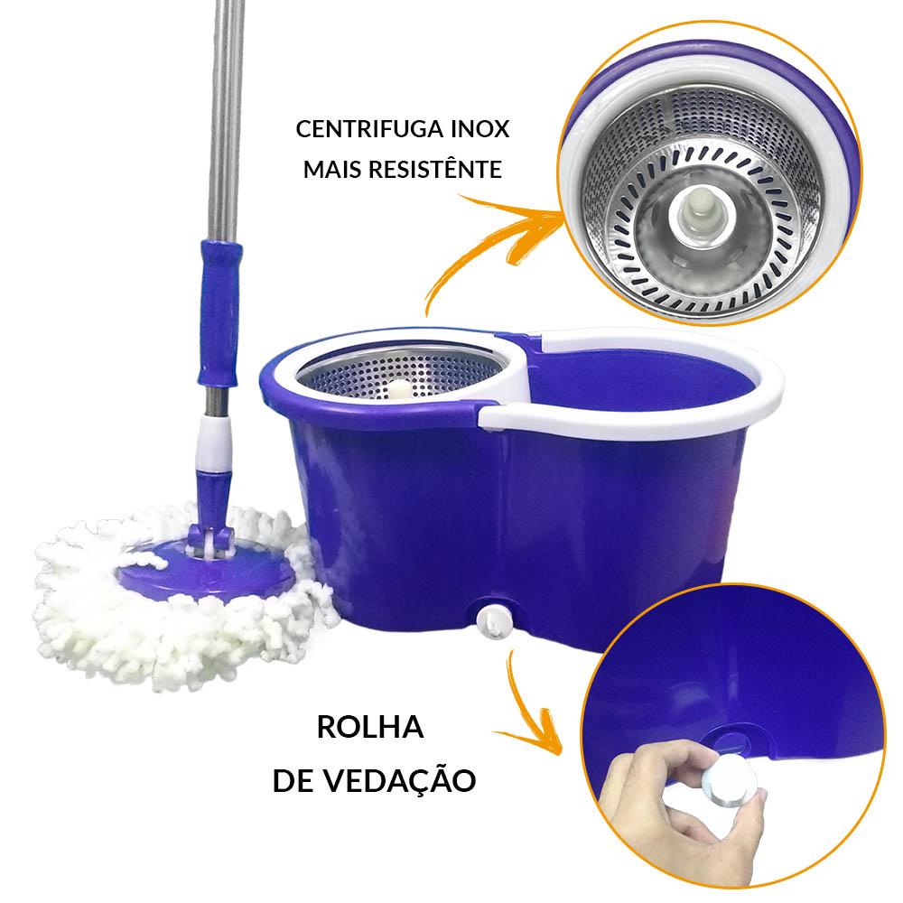 balde spin mop 360 com centrifuga inox e 4 refis roxo