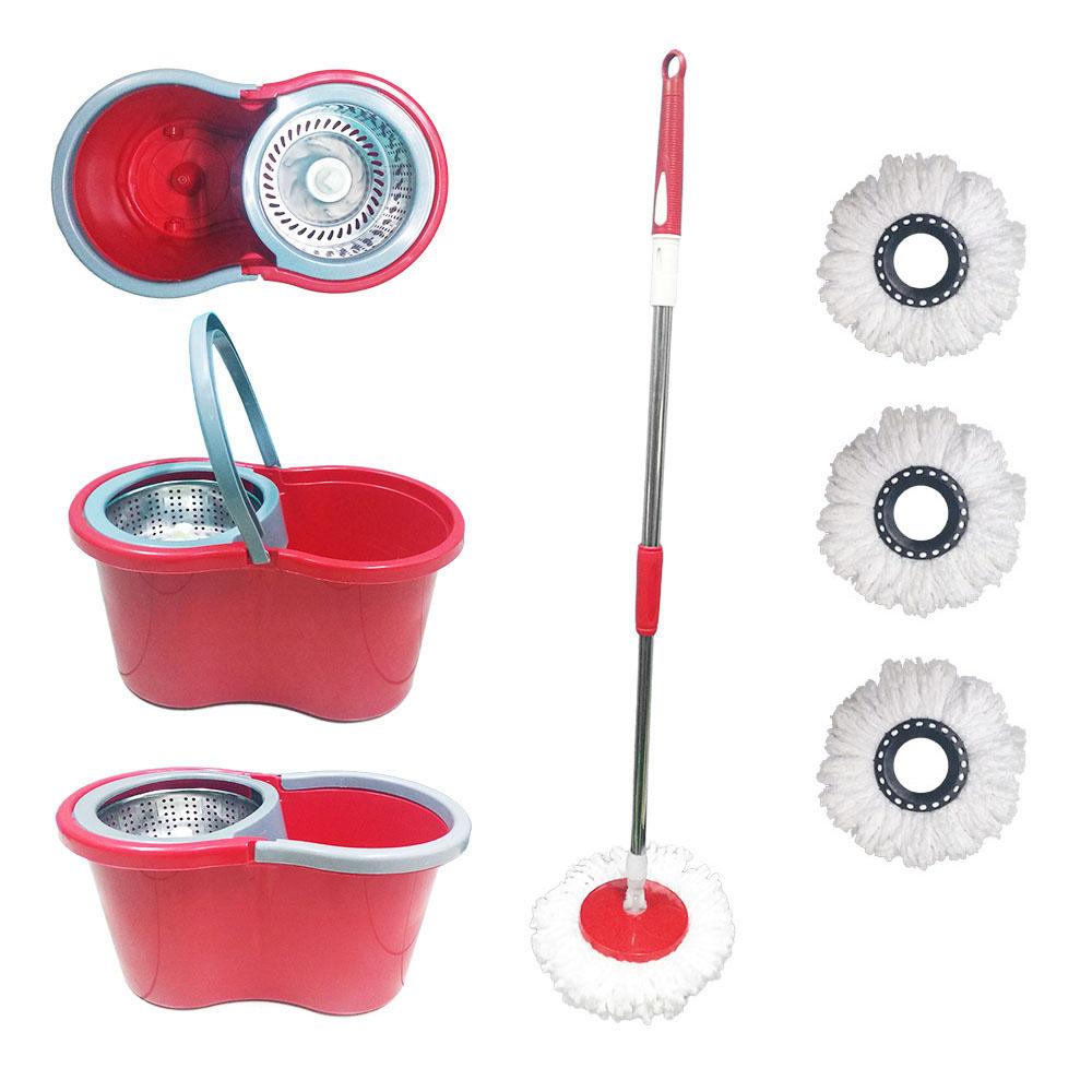 balde spin mop 360 centrifuga inox esfregão 4 refis vermelho