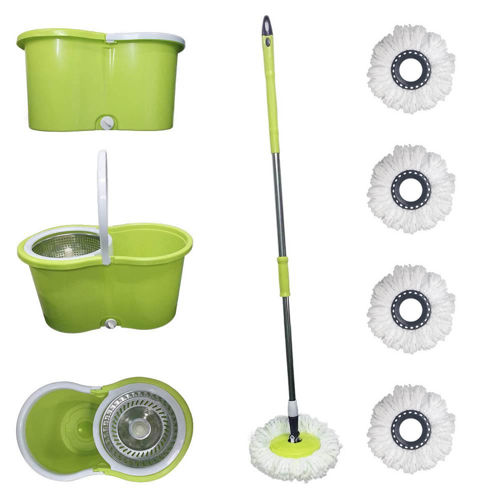 balde spin mop centrifuga inox esfregão com 5 refis verde
