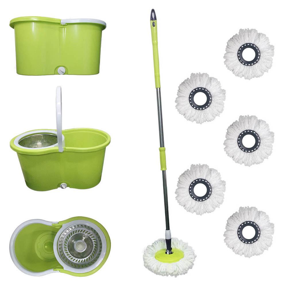 balde spin mop 360 centrifuga inox esfregão e 6 refis verde