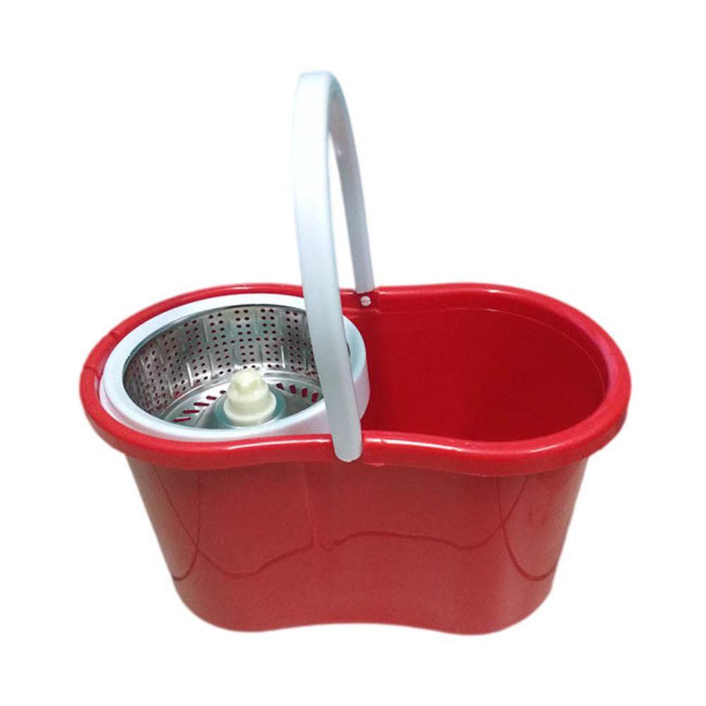 balde spin mop 360 centrifuga inox esfregão 2 refis vermelho