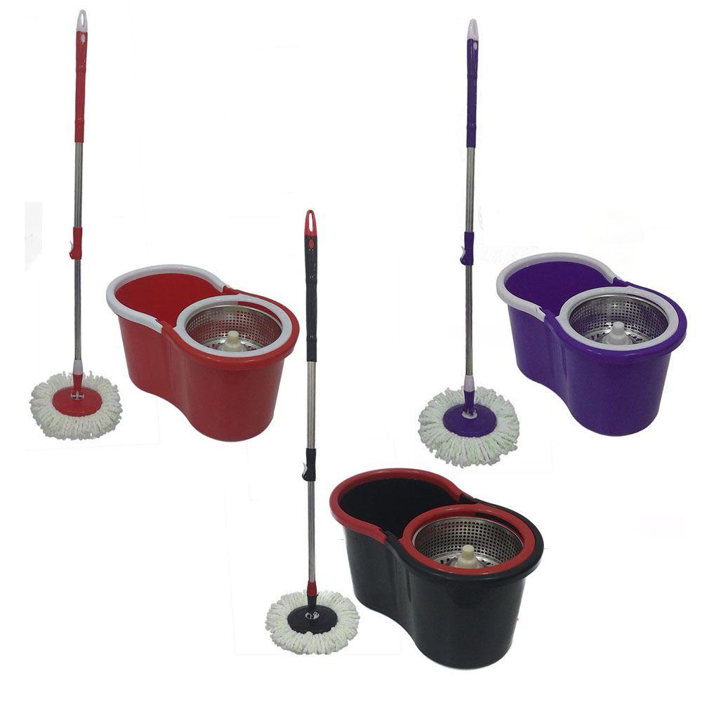 balde spin mop centrifuga inox  5 esfregões de microfibra