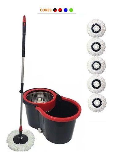 Balde Spin Mop Centrifuga Inox com 5 Esfregões de Microfibra