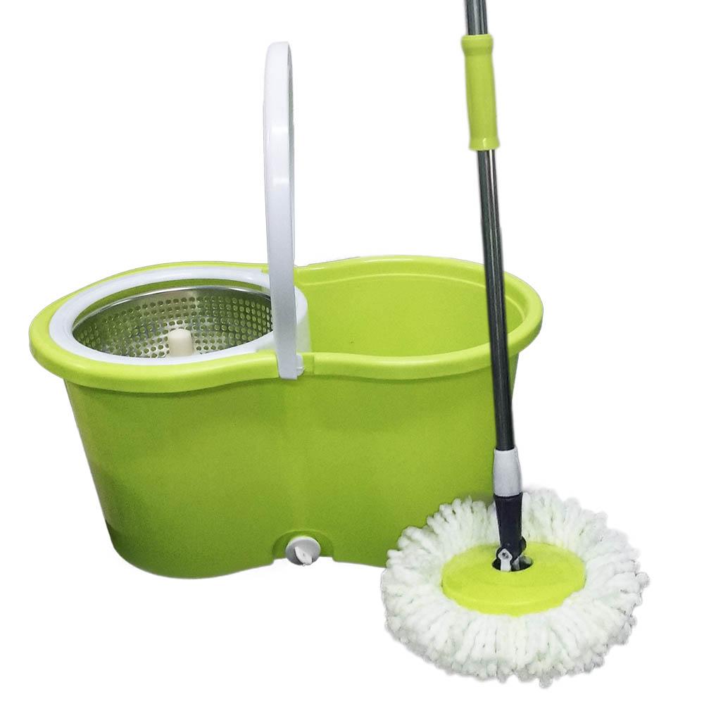 balde spin mop centrifuga inox com esfregão e 4 refis verde
