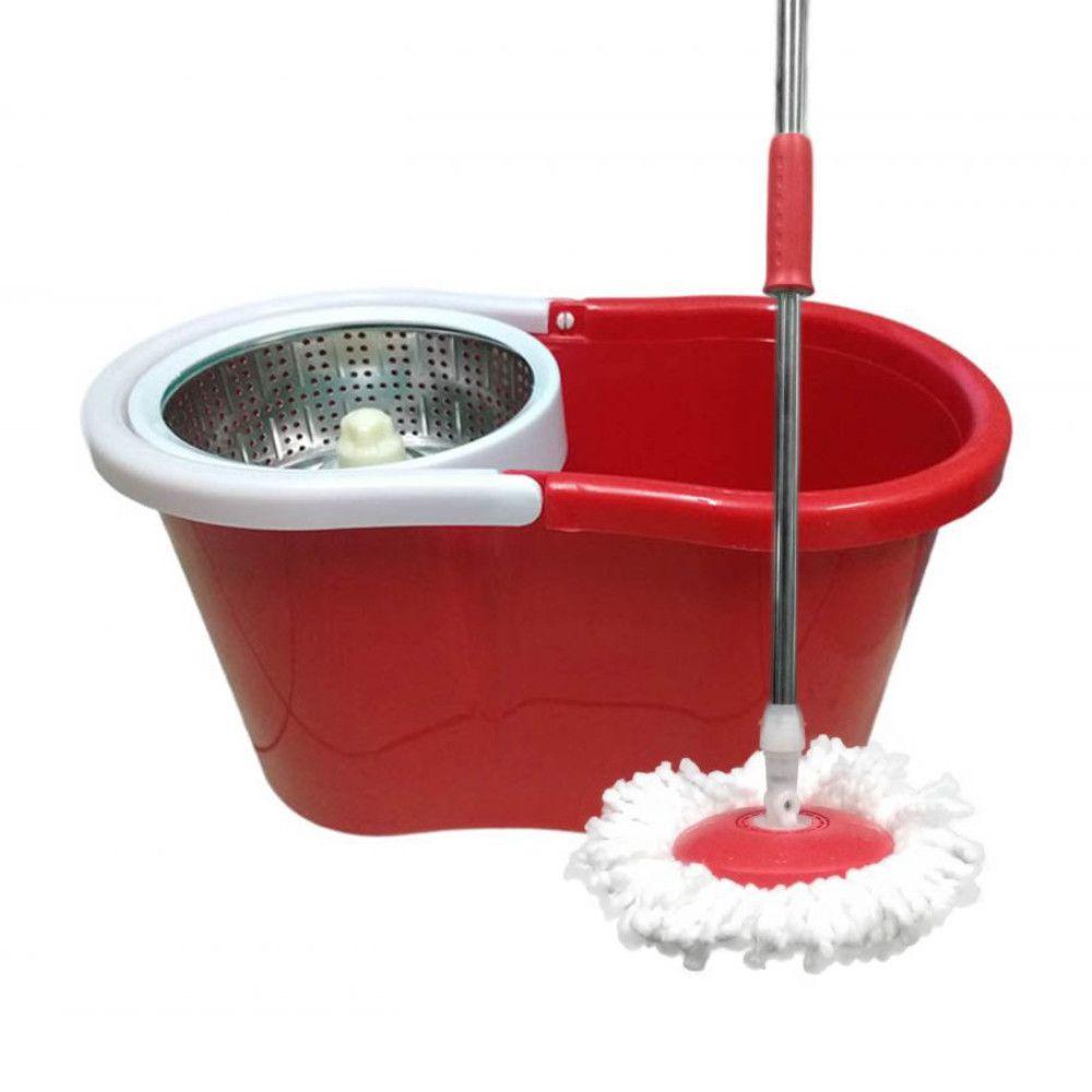 balde spin mop centrifuga Inox com esfregão 4 refis vermelho