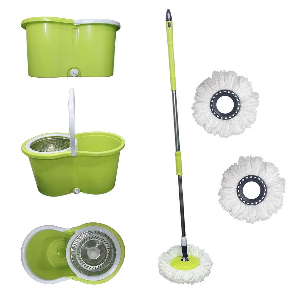 balde spin mop centrifuga inox e esfregão com 3 refis verde