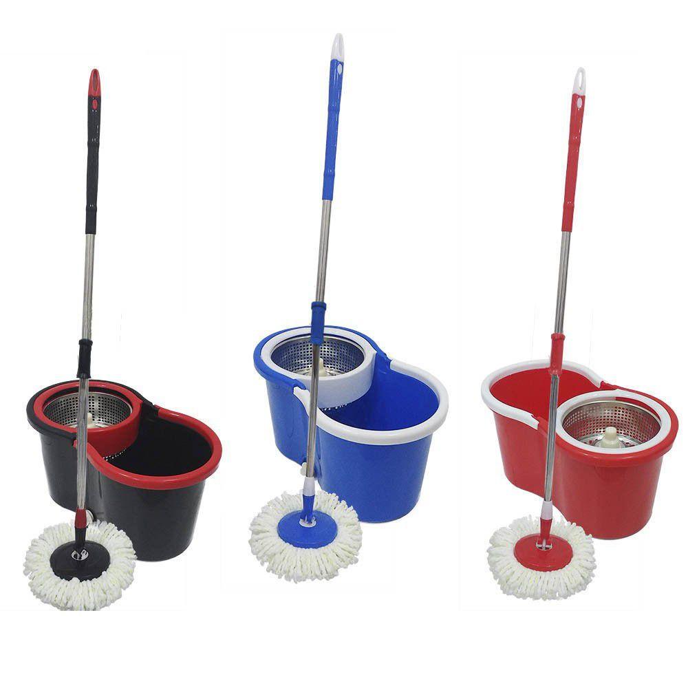 balde mop centrífuga Inox Cabo 1.34m com tampão e 3 refis
