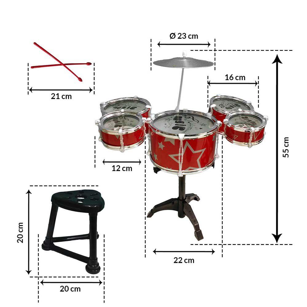 bateria infantil 55cm com 5 Tambores 1 Prato e 1 banco