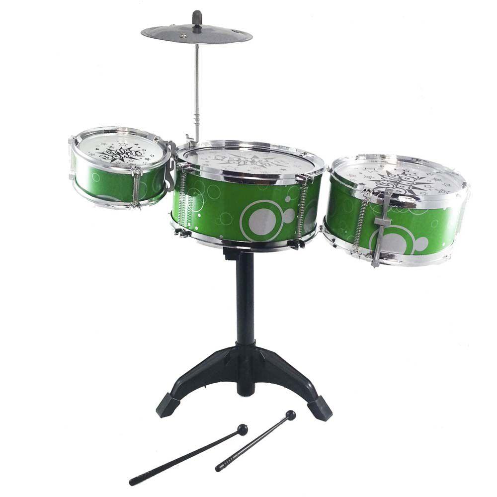 bateria infantil art brink 3 tambores 1 prato verde