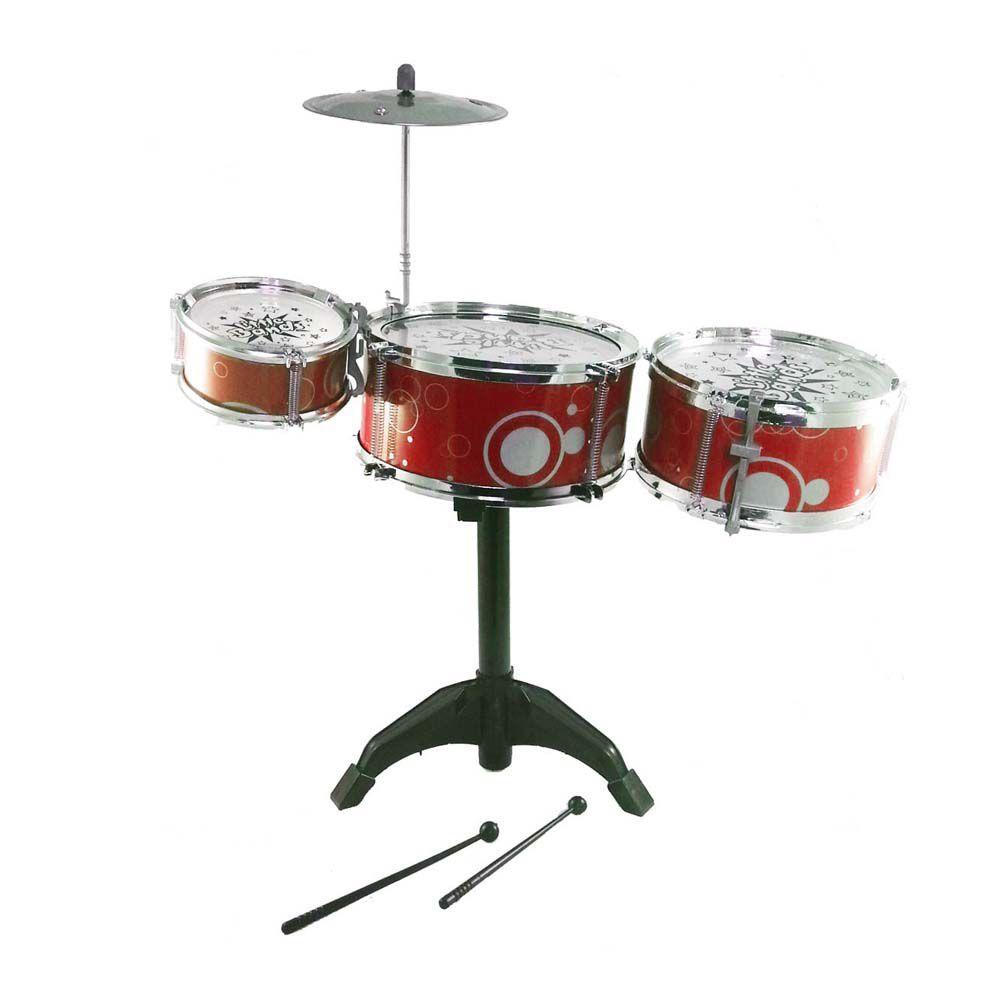 bateria infantil art brink 3 tambores 1 prato vermelho