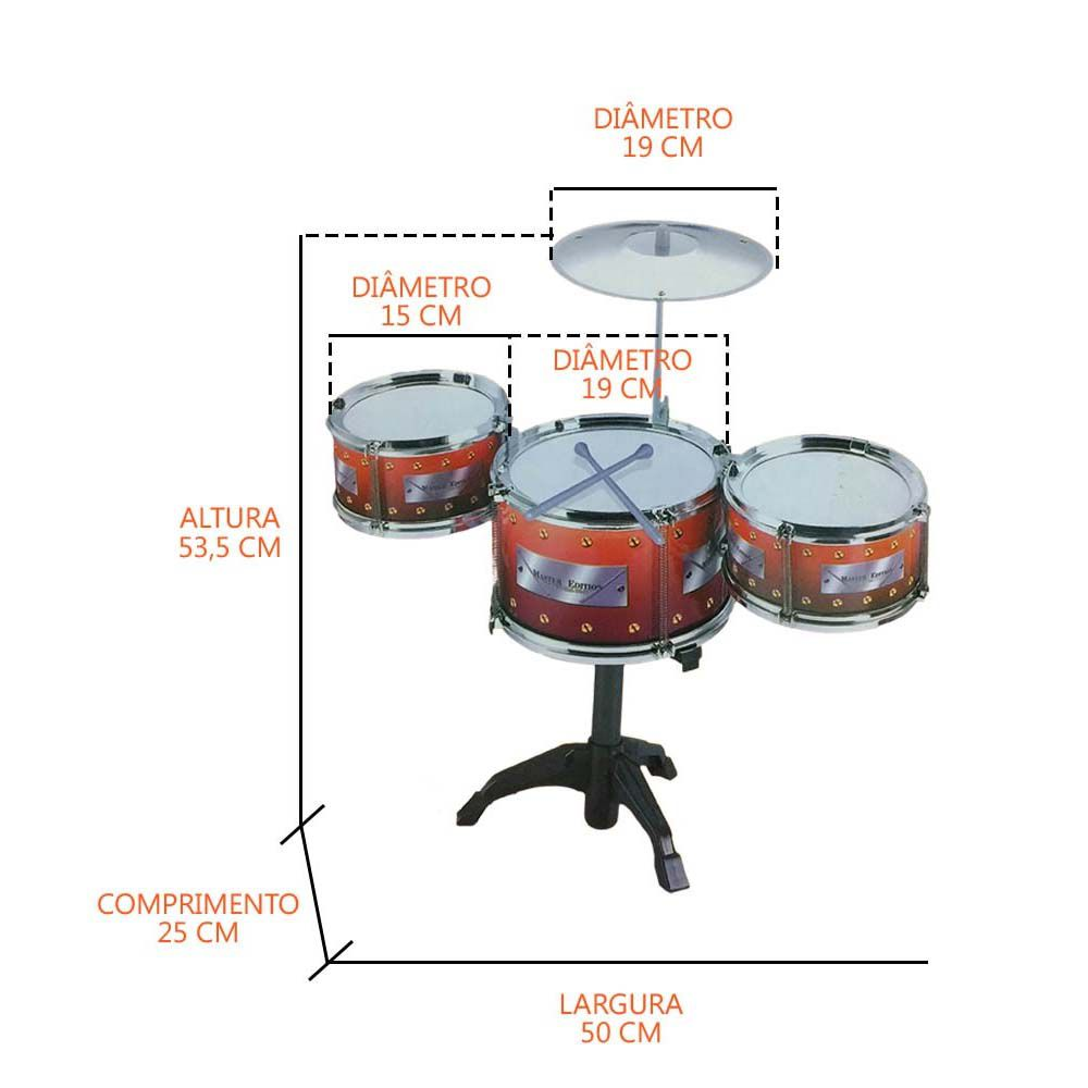 bateria infantil musical meu ritmo com banquinho 3 tambores